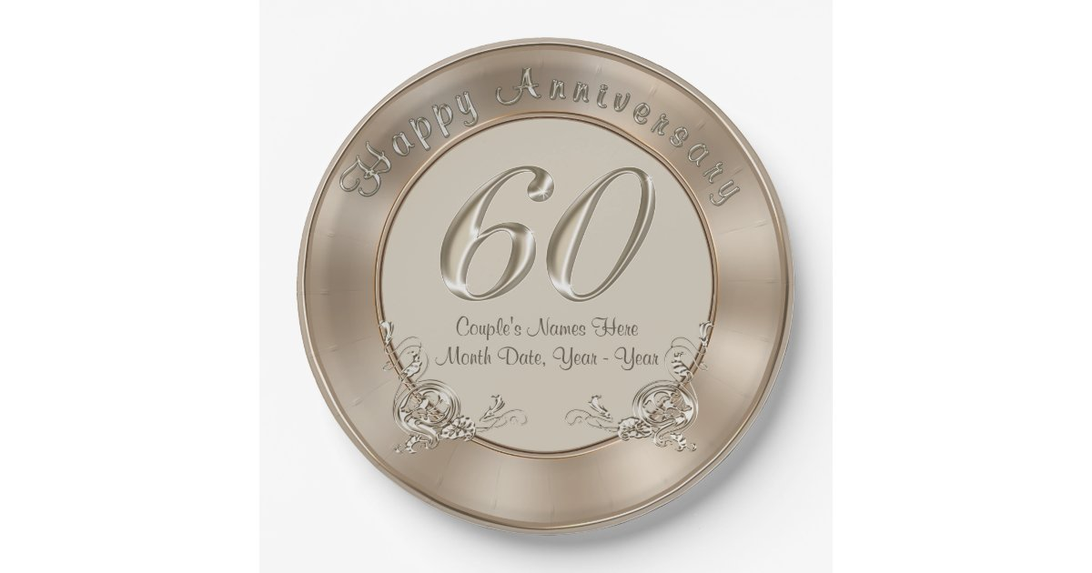 Th wedding anniversary plates with names date zazzle