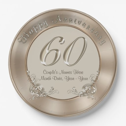 60th Wedding Anniversary Plates With Names Date 9 Inch Paper Plate