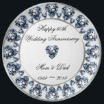 "60th Wedding Anniversary Porcelain Plate<br><div class=""desc"">A Digitalbcon Images Design featuring a platinum silver, black and diamond color theme with a variety of custom images, shapes, patterns, styles and fonts in this one-of-a-kind &quot;Diamond Wedding Anniversary&quot; Porcelain Plate. This exquisite design makes an attractive and elegant gift for the Anniversary couple as an individual gift or as...</div>"