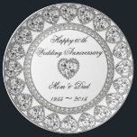 "60th Wedding Anniversary Porcelain Plate<br><div class=""desc"">A Digitalbcon Images Design featuring a platinum silver and diamond color and design theme with a variety of custom images, shapes, patterns, styles and fonts in this one-of-a-kind &quot;60th Wedding Anniversary&quot; Porcelain Plate. This attractive and elegant design comes complete with customizable text lettering and background color to suit your own...</div>"
