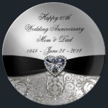 "60th Wedding Anniversary Porcelain Plate<br><div class=""desc"">A Digitalbcon Images Design featuring a Black Satin Ribbon, Diamond and Platinum Silver Flourish Frame theme with a variety of custom images, shapes, patterns, styles and fonts in this one-of-a-kind &quot;Diamond Wedding Anniversary&quot; Porcelain Plate. This elegant and attractive design comes with customizable text lettering on the front and is sure...</div>"
