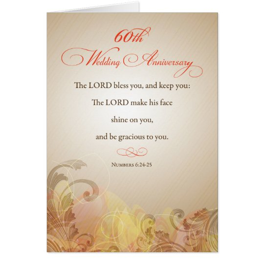 60th Wedding Anniversary Religious Lord Bless Card