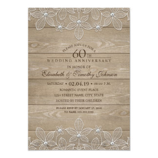 60th Wedding Anniversary Rustic Wood Vintage Lace Card