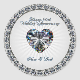 60th Wedding Anniversary Sticker Round Sticker