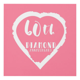 60th wedding anniversary traditional diamond panel wall art
