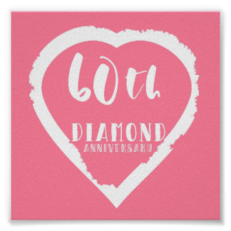60th wedding anniversary traditional diamond poster