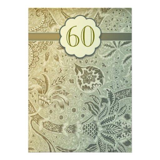 60th wedding anniversary vintage design invitation
