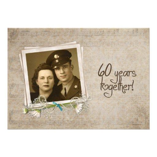 60th Wedding Anniversary Vow Renewal Custom Invitations