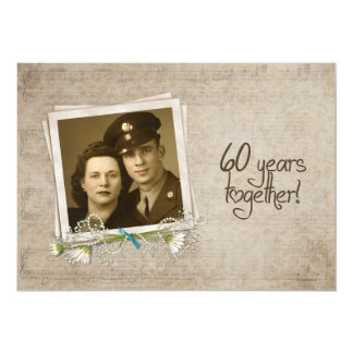 60th Wedding Anniversary Vow Renewal 5x7 Paper Invitation Card