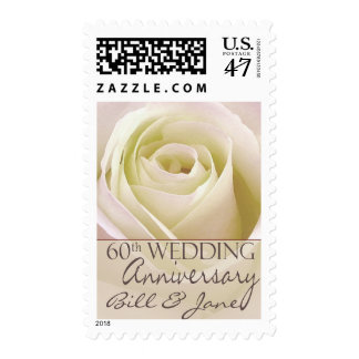 60th Wedding Anniversary with pink rose Postage