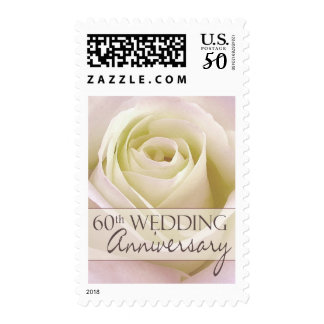 60th Wedding Anniversary with white rose Postage