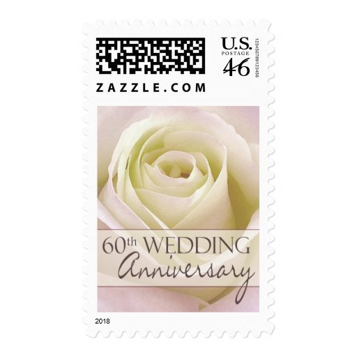 60th Wedding Anniversary with white rose Postage Stamps