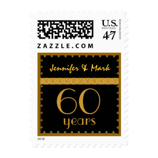 60th Year Anniversary - Black and Gold Lace Stamp