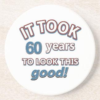 60th year birthday designs drink coaster