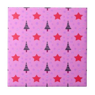 610 Cute Christmas tree and stars pattern.jpg Tile