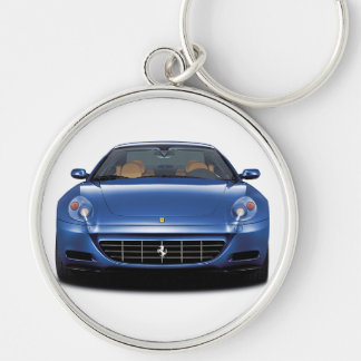 612 Blue Keyring Silver-Colored Round Keychain