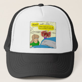 614 car in common cartoon trucker hat