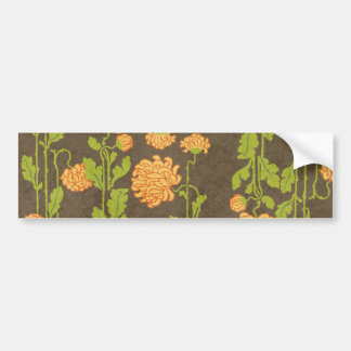 6184_floral-orange-green-brown RETRO FLOWERS VINES Bumper Stickers