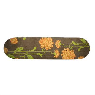 6184_floral-orange-green-brown RETRO FLOWERS VINES Skateboard