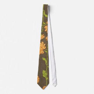 6184_floral-orange-green-brown RETRO FLOWERS VINES Tie