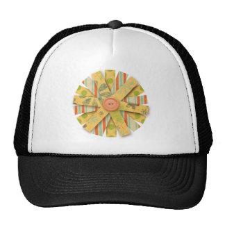 6185 PAPER FLOWER CUTOUT PEACHES PASTEL YELLOW GRE MESH HATS
