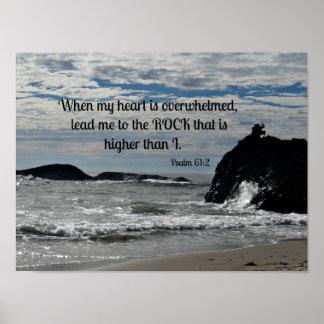 61:2 del salmo en que se abruma mi corazón… póster