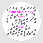 61 cabezas del gato viejas etiquetas redondas