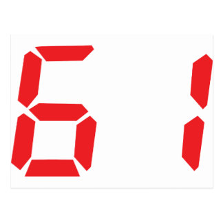 61 sixty-one red alarm clock digital number post cards