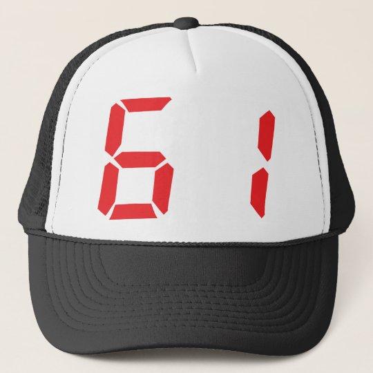 61 sixty-one red alarm clock digital number trucker hat
