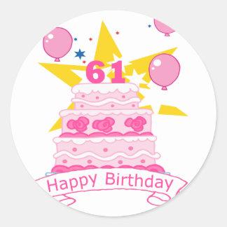 61 Year Old Birthday Cake Classic Round Sticker