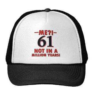 61 year old designs trucker hat