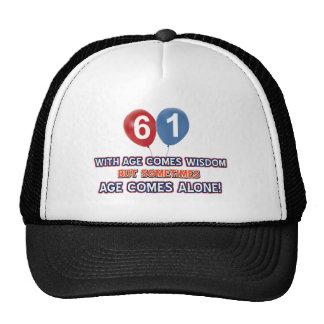 61 year old wisdom birthday designs trucker hat