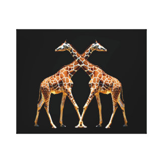 61A GIRAFFES IN PASSING on black 16X20 Gallery Wrap Canvas