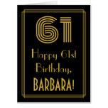 "[ Thumbnail: 61st Birthday: Art Deco Inspired Look ""61"" + Name Card ]"