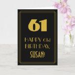 "[ Thumbnail: 61st Birthday – Art Deco Inspired Look ""61"" & Name Card ]"