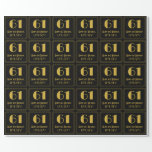 """[ Thumbnail: 61st Birthday ~ Art Deco Inspired Look """"61"""", Name Wrapping Paper ]"""