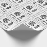 """[ Thumbnail: 61st Birthday: Art Deco Inspired Style """"61"""" + Name Wrapping Paper ]"""