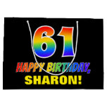 [ Thumbnail: 61st Birthday: Bold, Fun, Simple, Rainbow 61 Gift Bag ]