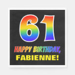 [ Thumbnail: 61st Birthday: Bold, Fun, Simple, Rainbow 61 Napkins ]