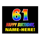 [ Thumbnail: 61st Birthday: Bold, Fun, Simple, Rainbow 61 Postcard ]