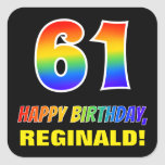 [ Thumbnail: 61st Birthday: Bold, Fun, Simple, Rainbow 61 Sticker ]