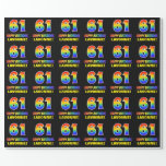 [ Thumbnail: 61st Birthday: Bold, Fun, Simple, Rainbow 61 Wrapping Paper ]