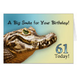 61st Birthday card with a smiling alligator