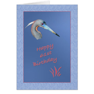 61st Birthday Card with Tricolored Heron