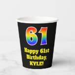 [ Thumbnail: 61st Birthday: Colorful, Fun, Exciting, Rainbow 61 ]