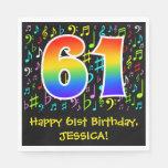 [ Thumbnail: 61st Birthday - Colorful Music Symbols, Rainbow 61 Napkins ]