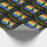 [ Thumbnail: 61st Birthday: Colorful Music Symbols, Rainbow 61 Wrapping Paper ]