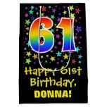 [ Thumbnail: 61st Birthday: Colorful Stars Pattern & Rainbow 61 Gift Bag ]