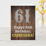 [ Thumbnail: 61st Birthday: Country Western Inspired Look, Name Card ]
