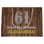 [ Thumbnail: 61st Birthday: Country Western Inspired Look, Name Gift Bag ]